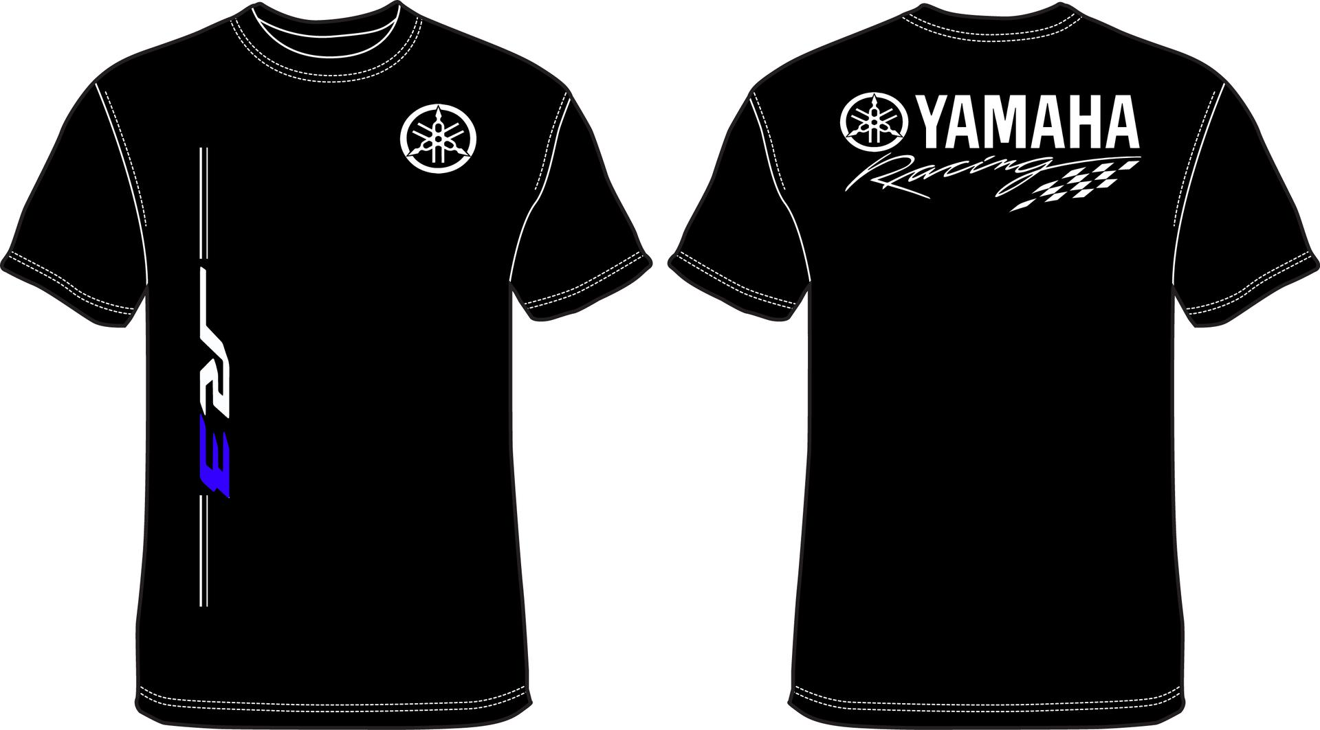 Black yamaha t shirt - Click Image For Larger Version Name R3 Yamaha Racin Front Back Blue Jpg Views